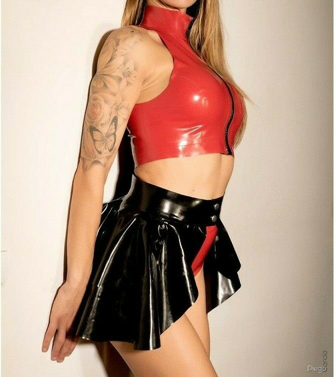 LATEX OUTFIT RUBBER SEXY PEPLUM SKIRT KNICKERS PANTS TOP FICSHER STYLE SET