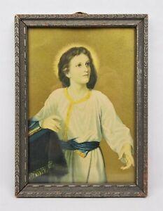 Antique-Lithograph-Print-of-Jesus-in-Art-Nouveau-Ornate-Frame-Fits-7-034-x-5-034