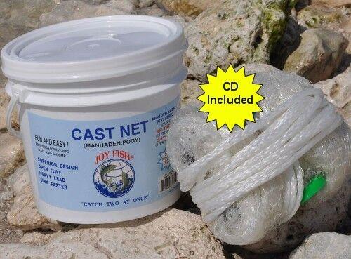 Lee Fisher Joy Fish  8' Cast Net 5 8  Mesh White Casting Net Menhaden Model CMN-8  fast shipping