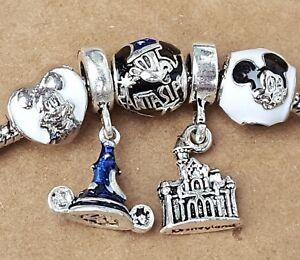 Disney Parks Mickey FANTASIA 75th Sorcerer Hat Blue Castle European Beads Charms