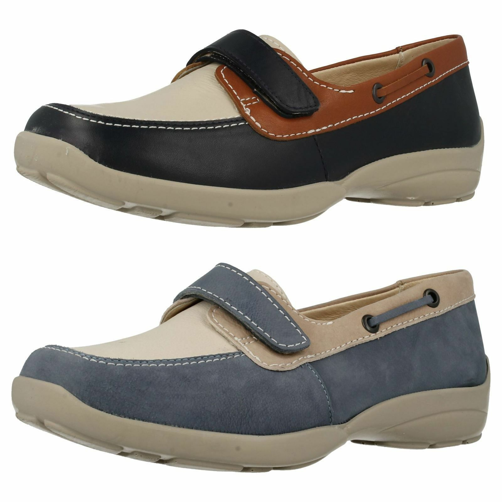 Easy B Damen zerissen Band Schuhe breite Passform Deck Stil Schuhe Band 'Elizabeth' b102fd