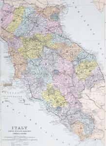 Details About 1887 Antique Map Italy Emilia Tuscany Marches Umbria Rome Elba Leghorn