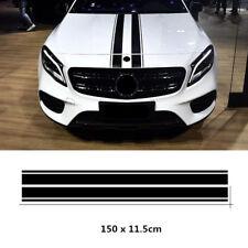 2x Black Car Hood Stripe Decal Strip Bar Graph Bonnet Sticker Universal Custom Fits Srt