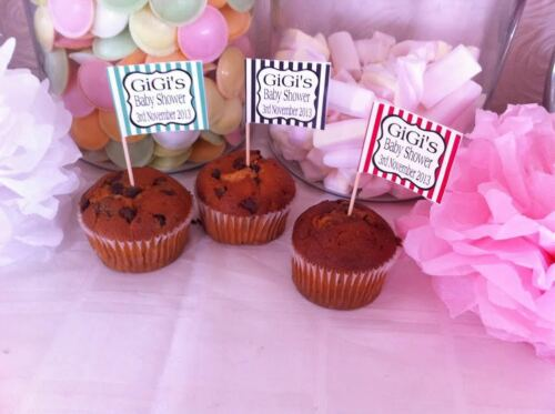 24 x Personalised Cup Cake Toppers Picks Candy Stripe Baby Shower