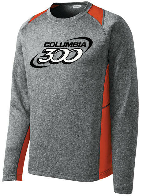 Columbia 300 Men's Bully Bowling Long Sleeve Shirt Dri-Fit Heather orange