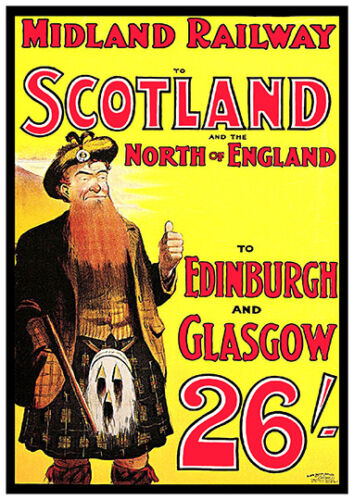 Vintage Rail advert Reproduction poster Midland Railway to Scotland Wall art.