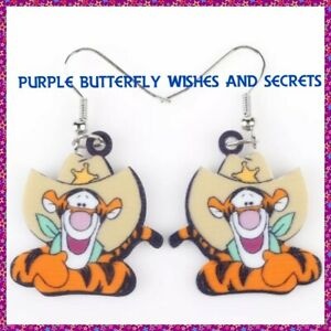 7e7698692379d Details about Winnie the Pooh, Tigger, Acrylic dangle drop Earrings, 1  Pair, Free Post