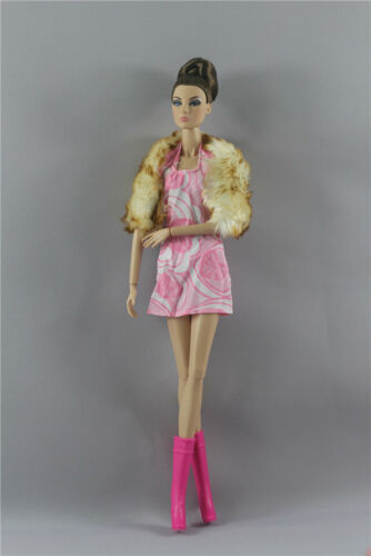 Boots For 11 in 3 PCS Fashion Royalty Woolen drape Party Pink Dress Doll