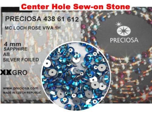 288 Preciosa Czech VIVA Loch Rose 1-hole Sew-on Flatback Stones 4mm Sapphire AB