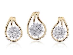 Pave-0-69-Cts-Runde-Brilliant-Cut-Diamanten-Anhaenger-Ohrringe-Set-In-14K-Gold