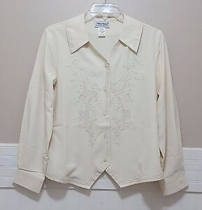e4d5ce880dd00 M Vtg Ladies Embroidered Top Cream Shirt Wing Collar Blouse ANTHONY ...
