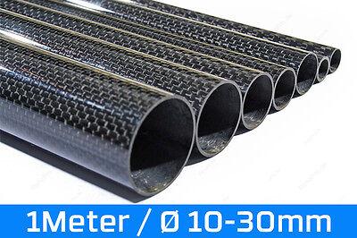 1m Präzisions Carbon Rohr glänzend 100% CFK Sicht Kohlefaser 3K Tube 1000mm
