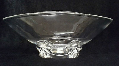 Steuben Crystal Art Glass Basket Bowl #8079 by Donald Pollard - Vintage