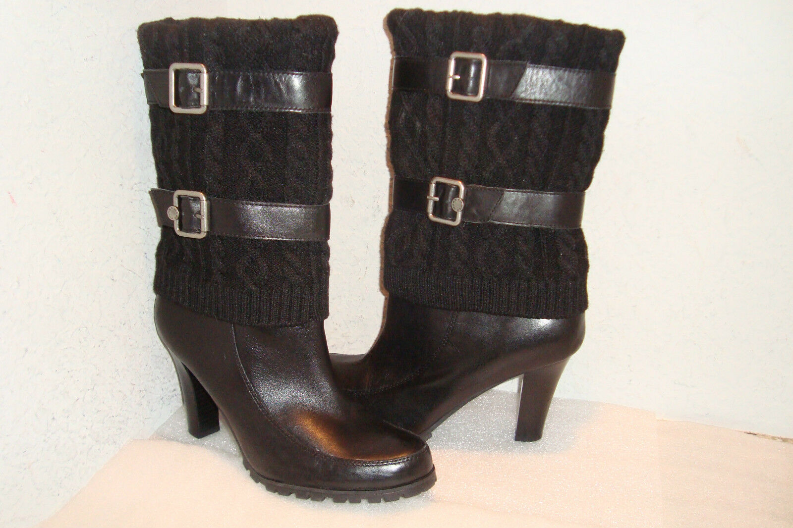 Marc Fisher Womens NWOB Fabric Black Mid Calf Boots Shoes 11 MED NEW