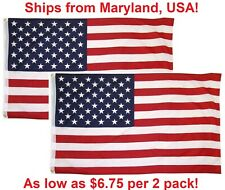 3x5 Ft American Flag w/ Grommets ~2 Pack~ USA United States of America ~US Flags