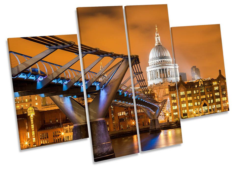 St Pauls Cathedral London Sunset CANVAS WALL ART MULTI Panel Print Box Frame