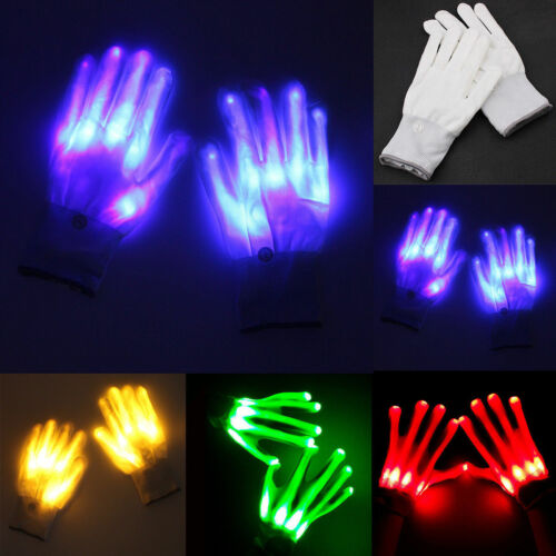 LED Finger Gloves Electro Light Up Dance Rave Party Halloween Xmas Fun