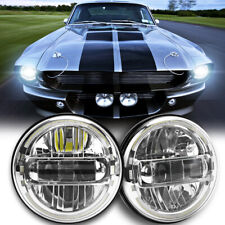 Newest Chrome Pair 7 Round Led Headlights Halo Drl For Ford Mustang 1965 1973 Fits Mustang