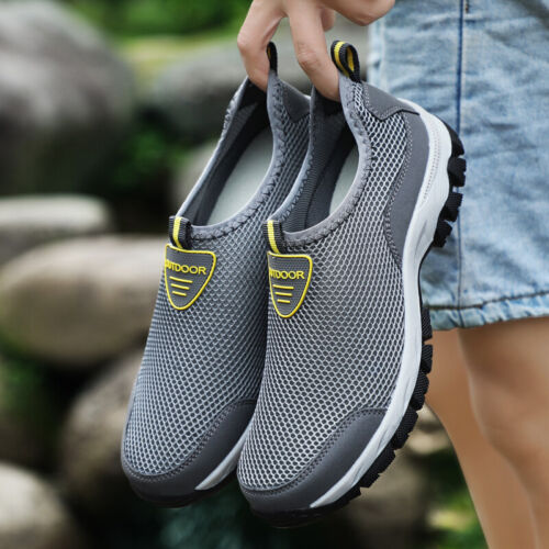 Men Summer Comfortable Casual Shoes Slip-on Breathable Air Mesh Flats Trainers S