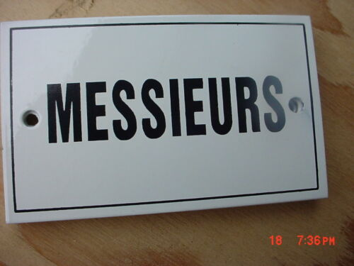 French  Metal Enamel Sign  MESSIEURS Men/'s Restroom