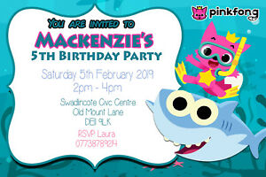 Image Is Loading Personalised Baby Shark Birthday Party Invites Including Envelopes