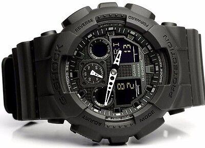 New Casio GSHOCK BLACK OPS Analog MILITARY BLACK GA100-1A1 Watch NWT 200 WR N/R