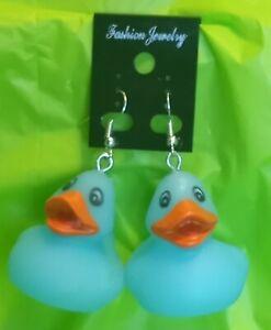 Blue Rubber Ducky Dangle Earrings