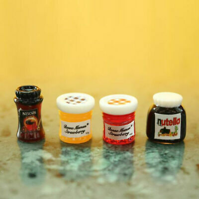 4pcs//set Dollhouse Miniature 1:12 Kitchen Food Jam Coffee Condiment DIY Decor TO