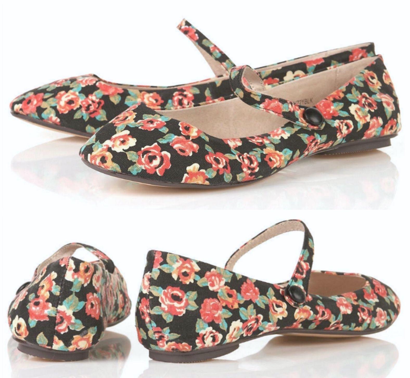TOPSHOP BLACK DITSY FLORAL PRINT FLAT CANVAS BALLET PUMPS Schuhe BALLERINAS NEU