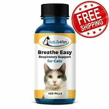 Breathe Easy Respiratory Support for Cats Sore Throat Flu Sneezing 450 Pills