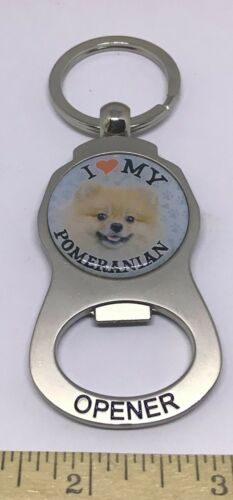 I Love My Pomeranian  Metal Bottle Cap Opener Key Chain Gift