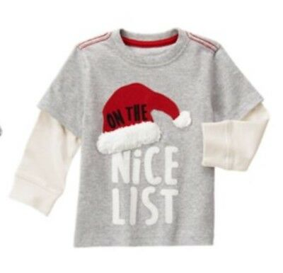Nwt Gymboree 12-18 M Boys Proof Santa Real Milk Cookies Shirt Christmas Holiday