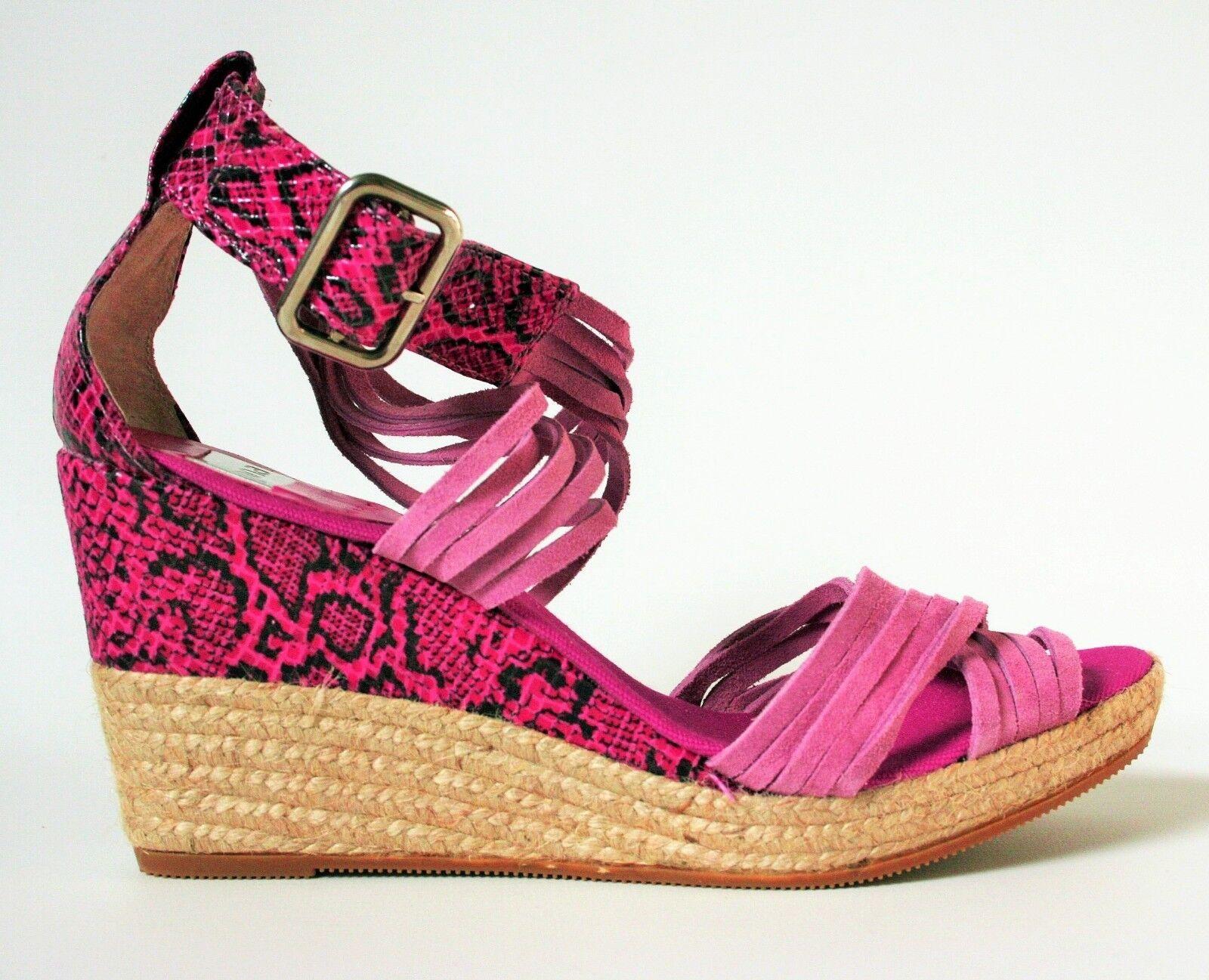 Women's KANNA Pink Suede Wedge Espadrilles Sandals High Heels shoes SIZE UK 7