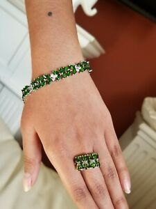 925-Sterling-Silver-Natural-Green-Chrome-Diopside-Bracelet-and-Ring-Set-NEW