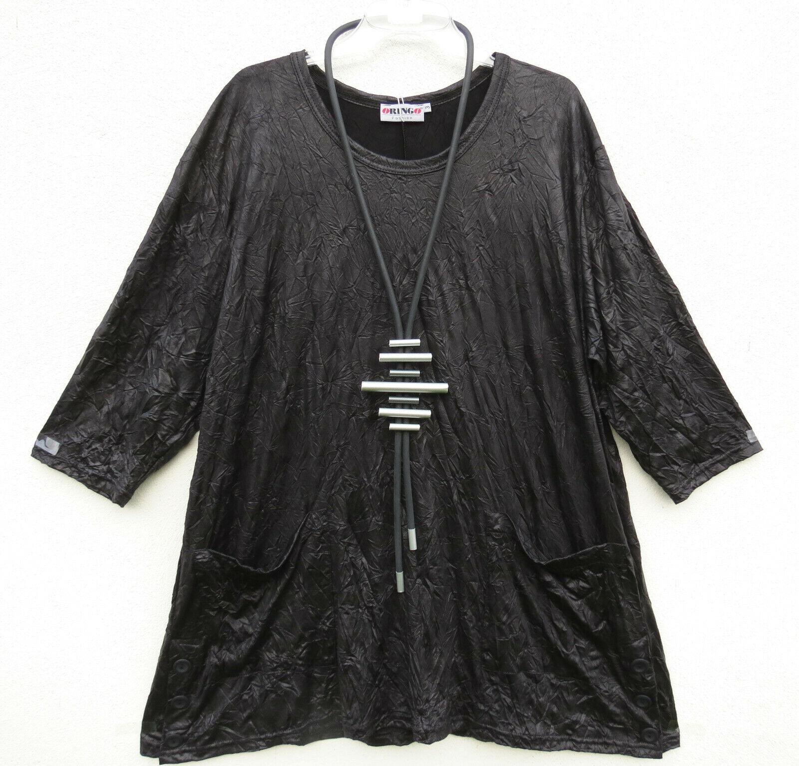 Oringo schwarze Crinkel tunique shirt tunic tunique au XL 48 50 Look