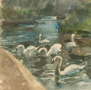 Clifford-H-Thompson-1926-2017-Contemporary-Watercolour-Lake-with-Swans