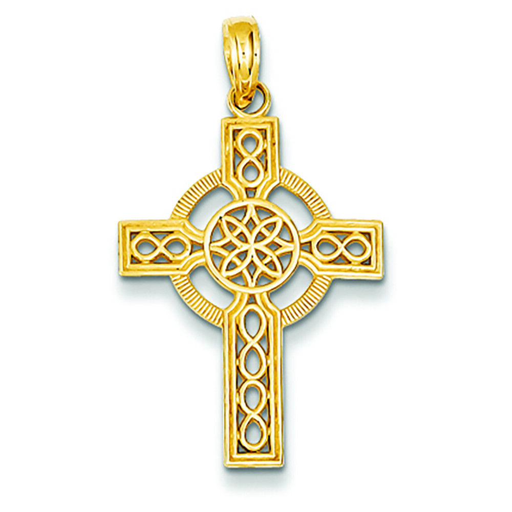14K Yellow gold Celtic Cross Charm Pendant MSRP  246