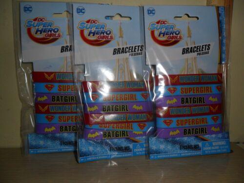 18 Party Favors ~ DC Super Hero Girls Bracelets ~ 3 Packs of 6 Sealed New