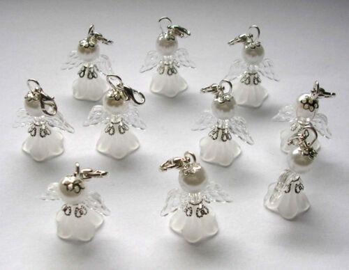 10 Schutzengel Engel Anhänger Weihnachten Taufe Geschenk Charm Hochzeit weiss