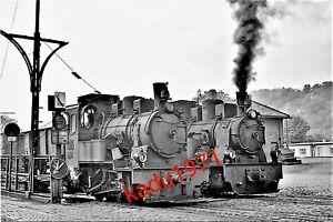 E1) Foto Lok 1 + 4, Bahnhof Limburg,  Dampflok, Eisenbahn. 1960