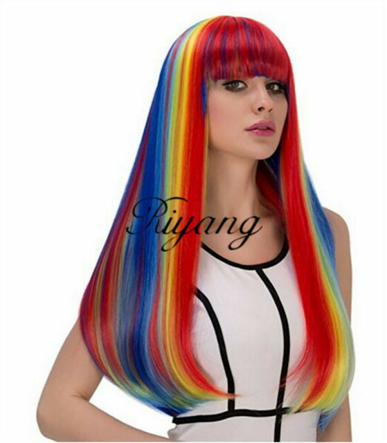 Rainbow Colorful Long Wavy Hair Ombre Synthetic Lace Front Wig Women Trendys NEW