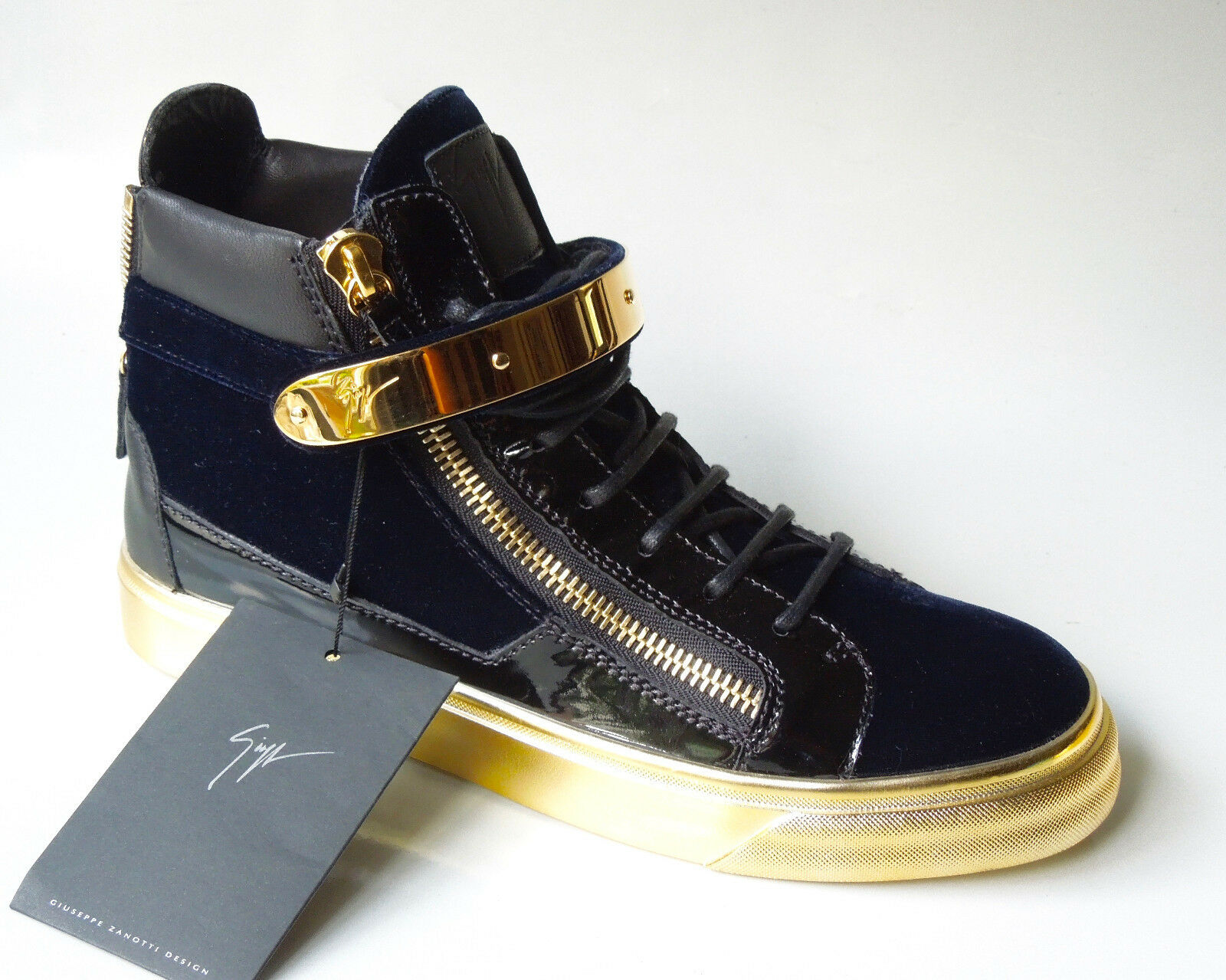 New  1050 Giuseppe ZANOTTI London Veronica bluee HighTop sneakers boots 39.5 9.5