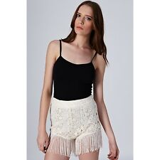 TOPSHOP fringe lace shorts by Coco's Fortune UK 14 in Cream - New with tags