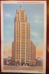 VINTAGE-LINEN-NEW-YORK-POSTCARD-SYRACUSE-NY-STATE-TOWER-BUILDING