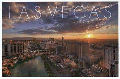 Aerial Las Vegas Strip Bellagio Fountains Paris Hotel Casino Mirage etc Postcard