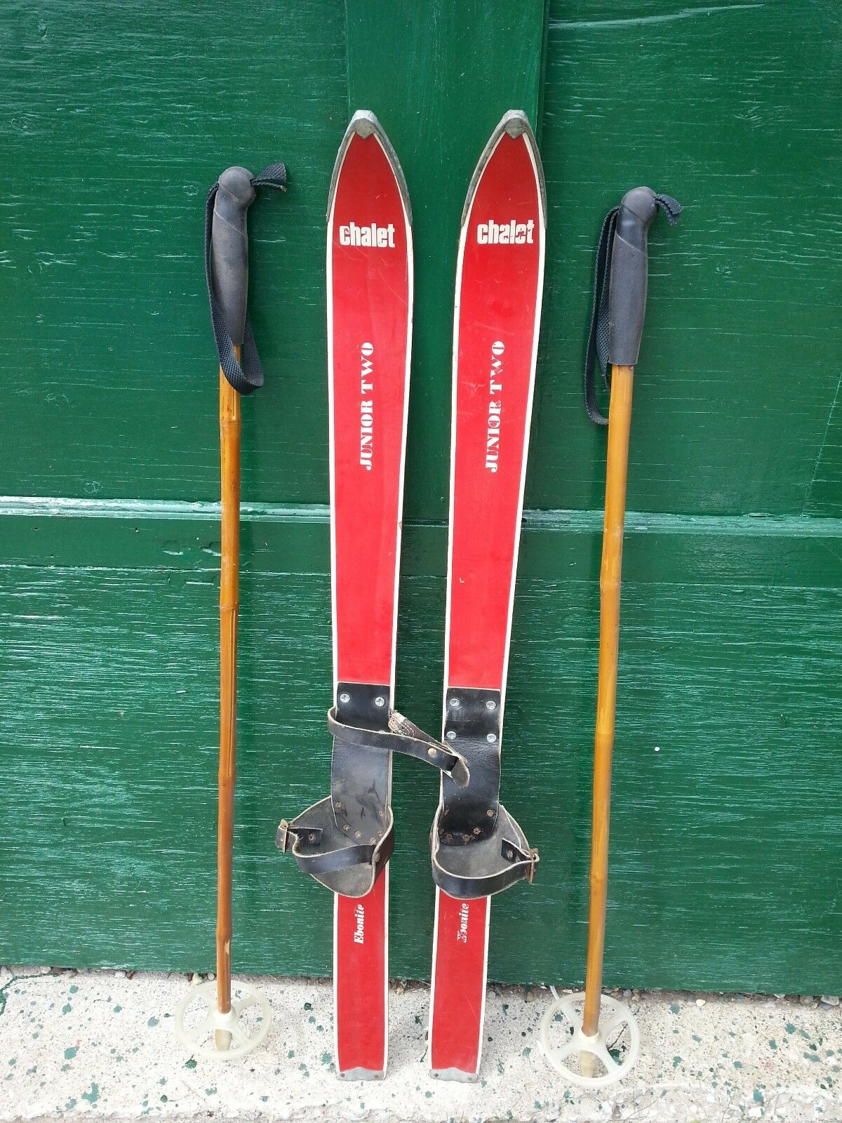 VINTAGE Wooden 41  Skis Has Leather Bindings  with RED Finish and Bamboo Poles  manufacturers direct supply