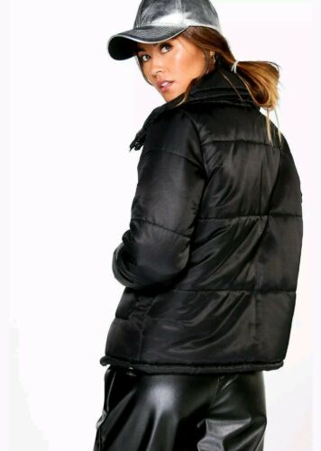 Quilted Black Jacket Size Topshop Neck Style Zara Bomber S 8 Boohoo Funnel Women qqawYA