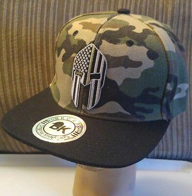 Spartan Military Green Line Helmet Camouflage Baseball Cap//Hat USA SPARTAN Flag