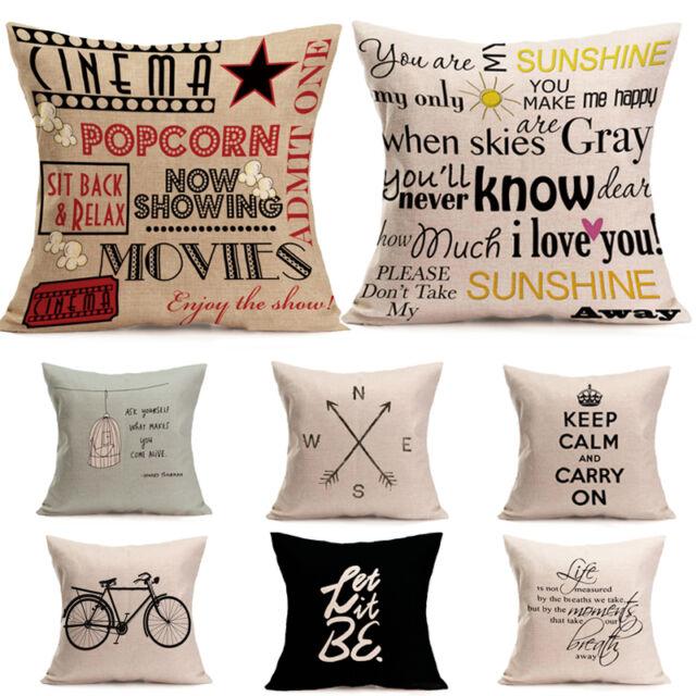 Vintage Bedroom Pillowcase Linen Pillow Case Throw Cushion Cover Sofa Home Decor