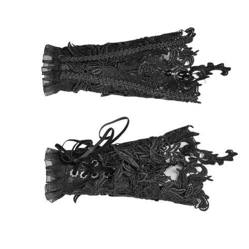 Black Gothic Lolita Steampunk Victorian S-177 s Glove s Punk Rave Lace Cuff